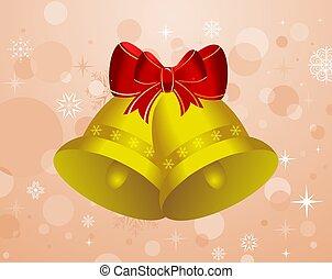 セット, クリスマス, 背景, 鐘