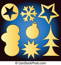 セット, クリスマス, 陽気