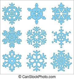セット, クリスマス, 雪片