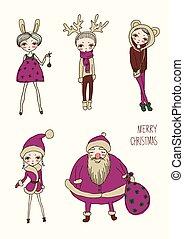 セット, クリスマス, 面白い, 女の子