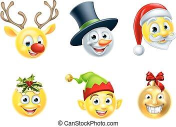 セット, クリスマス, emoji