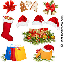 セット, クリスマス, objects., vector.