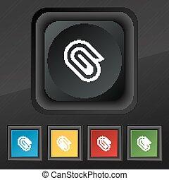 セット, クリップ, シンボル。, 手ざわり, カラフルである, ボタン, ベクトル, 黒, ペーパー, 流行, 5, アイコン, あなたの, design.