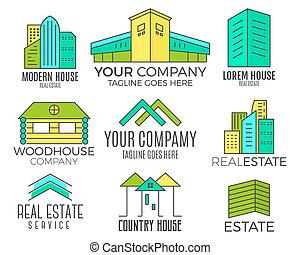 セット, クリップ, 色, 家, ロゴ, style., design., 財産, デザイン, media., 印刷, ...