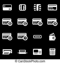 セット, クレジット, ベクトル, 白, カード, アイコン