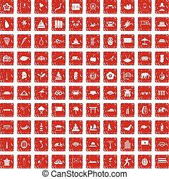 セット, グランジ, アイコン, アジア人, 100, 赤