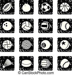 セット, グランジ, アイコン, ボール, ベクトル, スポーツ
