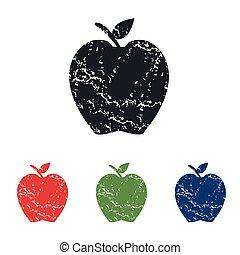 セット, グランジ, アップル, アイコン
