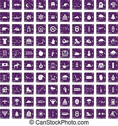 セット, グランジ, 冬, アイコン, 紫色, 100, スポーツ