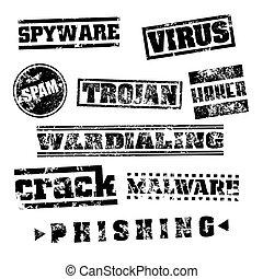 セット, グランジ, 切手, 隔離された, イラスト, pc, ウイルス, ベクトル