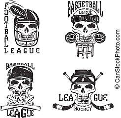 セット, グランジ, 型, ラベル, ベクトル, スポーツ, 頭骨