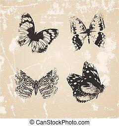 セット, グランジ, 蝶, バックグラウンド。, シルエット, ベクトル, 白
