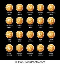 セット, コイン, -, crypto, 人気が高い, ethereum, さざ波, bitcoin