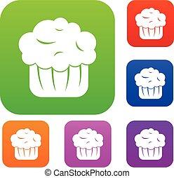 セット, コレクション, cupcake