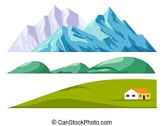 セット, コンストラクター, フィールド, 山, 緑の風景
