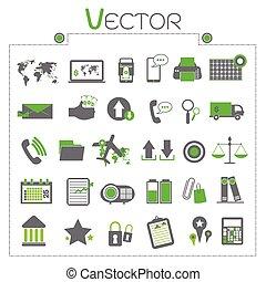 セット, コンピュータ, ビジネス アイコン, お金, 計算機, チャート, ベクトル, キー, 世界, シンボル