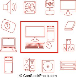 セット, コンピュータ, ベクトル, 白い赤, アイコン