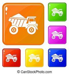 セット, ゴミ捨て場, アイコン, 色, 砂, トラック