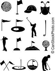 セット, ゴルフ, アイコン