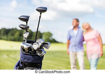 セット, ゴルフ, 恋人, バックグラウンド。, クラブ, シニア