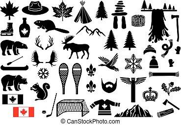 セット, ゴール, 木, scarf), カナダ, grizzly, アイコン, 滝, 旗, snowshoe, ...