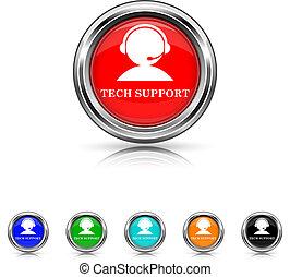 セット, サポート, 6, -, 色, 技術, アイコン