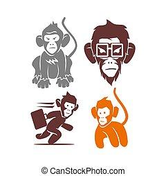 セット, サル, ベクトル, ロゴ, イラスト, テンプレート, デザイン, 接眼レンズ