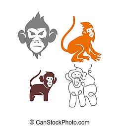 セット, サル, ベクトル, ロゴ, イラスト, テンプレート, デザイン, 線, 頭