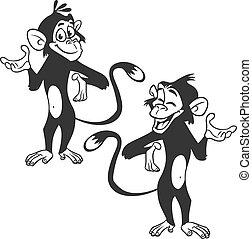 セット, サル, expression., 概説された, イラスト, ベクトル, 漫画