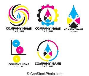 セット, サービス, ビジネス, シンボル, 印, 考え, 印刷, デザイン, 解決, デジタル, 印刷, ロゴ, カラフルである