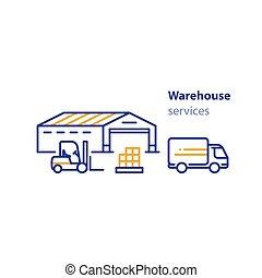 セット, サービス, 倉庫, 分配, 交通機関, アイコン