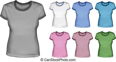 セット, シャツ, 女性