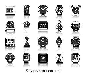 セット, シルエット, アイコン, 腕時計, ベクトル, 黒