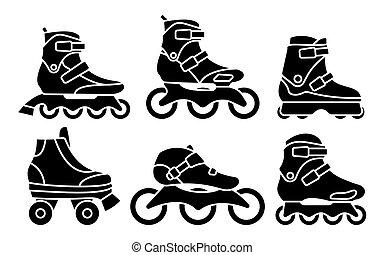 セット, シルエット, アイコン, 隔離された, イラスト, バックグラウンド。, ベクトル, スケート, インラインである, 白, ローラー