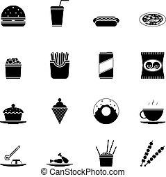 セット, シルエット, アイコン, 食物, 速い, シンボル, ベクトル, イラスト