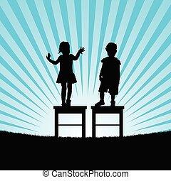 セット, シルエット, イラスト, 子供, 椅子, 幸せ