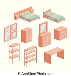 セット, シルエット, カラフルである, 上に, 背景, 寝室, 白, 家具
