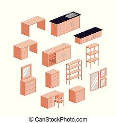 セット, シルエット, カラフルである, 上に, 背景, 白, 家具, 台所