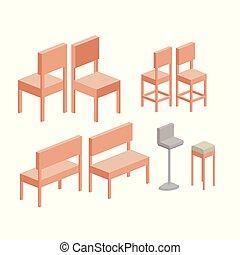 セット, シルエット, カラフルである, 椅子, 上に, 背景, 白