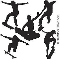 セット, シルエット, スケーター
