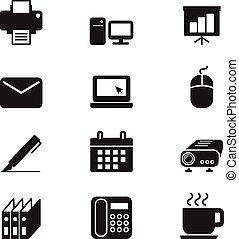セット, シルエット, ビジネスオフィス, 道具, アイコン