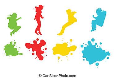 セット, シルエット, 子供, 跳躍, 女の子, ベクトル, 背景