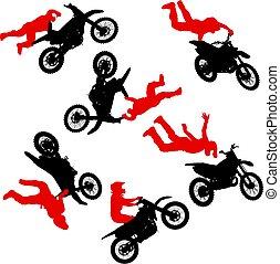 セット, シルエット, 実行, トリック, オートバイ, 背景, 白, ライダー