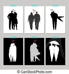 セット, シルエット, 恋人, 黒, 愛, カード