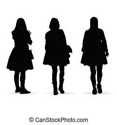 セット, シルエット, 数字, イラスト, 女の子, 白