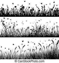 セット, シルエット, 牧草地