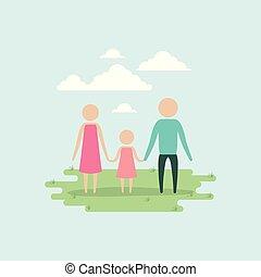 セット, シルエット, 背景, pictogram, 色, 恋人, 空, 手を持つ, 女の子, 草, 風景