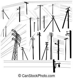セット, シルエット, 送電線, 高く, パイロン, 電圧
