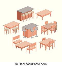 セット, シルエット, 部屋, カラフルである, 上に, 食事をする, 背景, 白, 家具