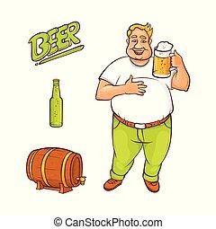 セット, シンボル, ビール, ベクトル, 恋人, 漫画